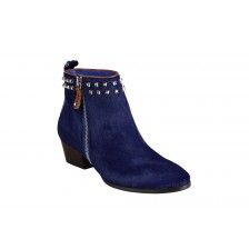 CALF HAIR ALMOND TOE STUDDED ANKLE BOOTS