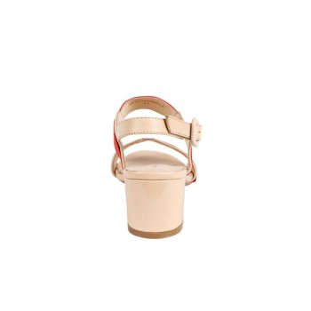 Two Color Strap  Heeled Sandals