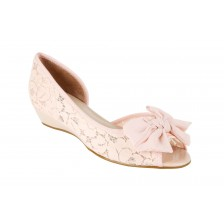 FLORAL LACE OPEN-TOE MINI-WEDGE
