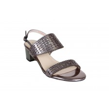 LASER-CUT METALLIC DOUBLE STRAP BLOCK HEEL SANDAL
