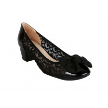 CROCHET LACE WITH PATENT TOECAP + GEORGETTE BOW, BLOCK HEEL PUMP