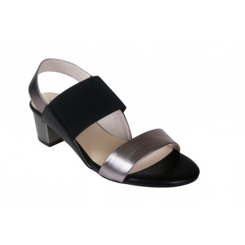 ELASTIC AND METAILLIC LEATHER DOUBLE STRAP BLOCK HEEL SANDAL