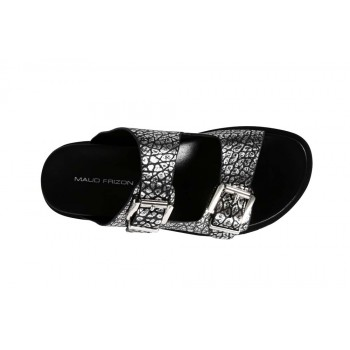 Textured Metallic Leather With Double Buckle Strap Slipper