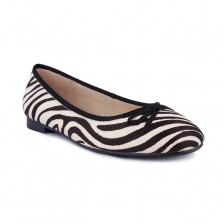 zebra pony leather ballerina