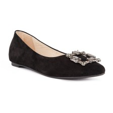 suede with stones buckle hidden heel flats