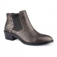 CALF LEATHER WITH ELASTIC LEATHER ANKLE BOOT