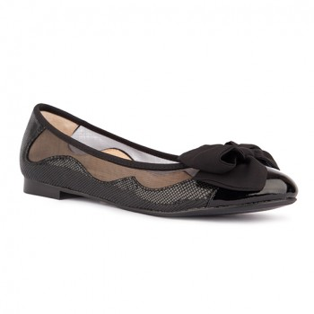MESH/ TEXTURE LEATHER WITH GEORGETTE BOW BALLERINA