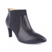 CALF LEATHER WITH ELASTIC GUSSET POINT TOE KITTEN HEEL ANKLE BOOT