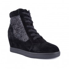 suede & glitter with lace up detail hidden heel ankle boot