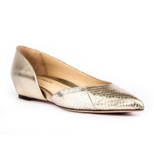 METALLIC TEXTURE LEATHER OPEN SIDE HIDDEN HEEL FLATS