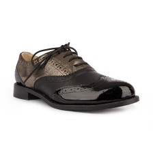 CALF LEATHER + METALLIC LEATHER WITH PATENT TOECAP OXFORD