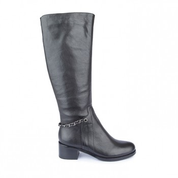 CALF LEATHER WITH METAL CHAIN BACK STRAP LONG BOOT