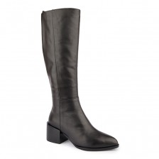CALF LEATHER POINT TOE BLOCK HEEL LONG BOOT