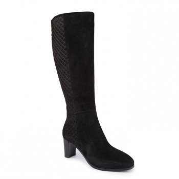 suede with back counter in quilting effect long boot