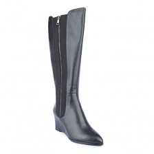 CALF LEATHER WITH METAL ZIPPER HIDDEN HEEL LONG BOOT