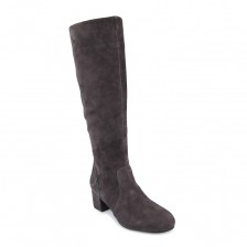 suede round toe block heel long boot