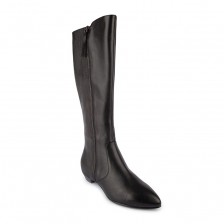 CALF LEATHER WITH TEXTURE ELASTIC AND SIDE ZIPPER LONG BOOT