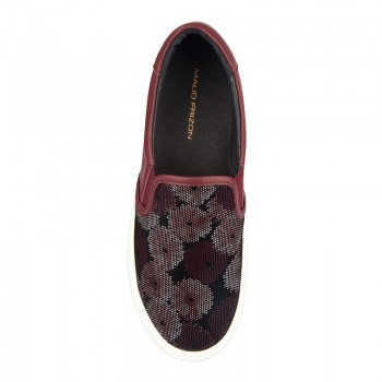FLORAL PRINT WITH BLACK BASE TEXTURED LEATHER LOAFER SNEAKERS