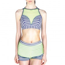 Fluorescent mesh round neck sports bra