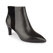 Suede panel leather ankle boots