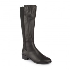 Elastic back panel leather knee boots