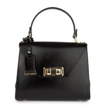 Small patent textured leather flap bag