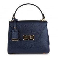 Small metalic textured leather flap bag