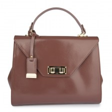 Medium patent textured flap bag