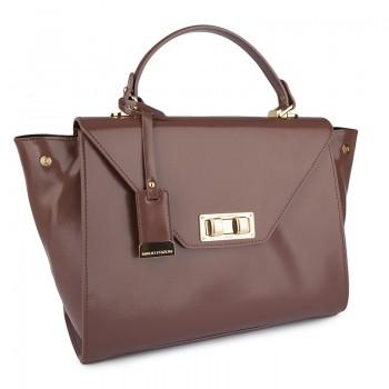 Medium patent textured flap bag