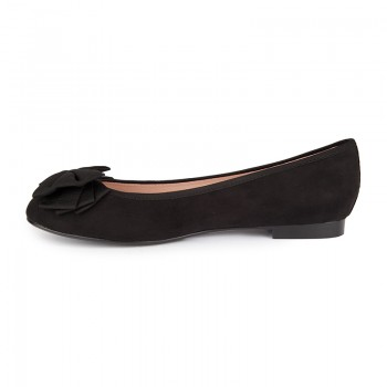 Soft bow synthetic suede ballerina