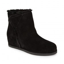 Fur trim suede ankle boots