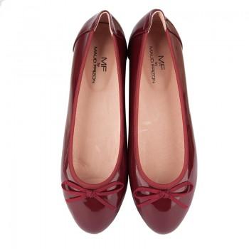 Rubber sole patent PU ballerina