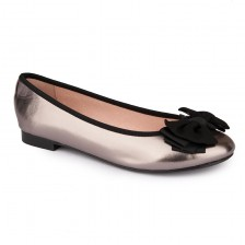 Patent PU geogette bow ballerina