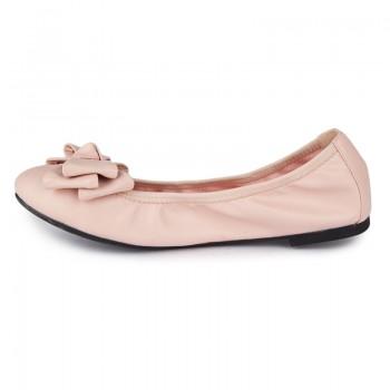Plain Style Foldable Ballerinas W/ Classic Bow