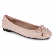 Leather Square Toe Ballerinas W/ PU Binding