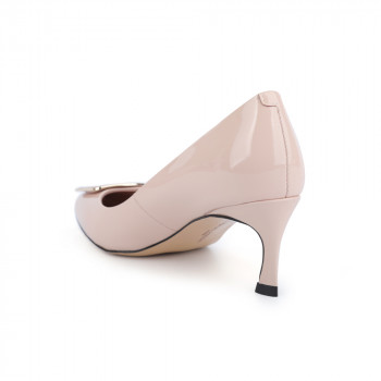 """VALERIE"" ALMOND TOE LEATHER PUMP"